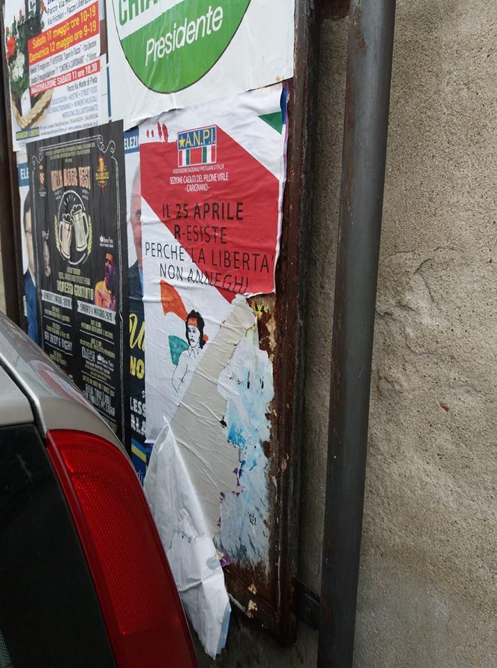 """CARIGNANO – Manifesto del 25 aprile stracciato. Anpi: """"Ha smosso qualche coscienza"""""""