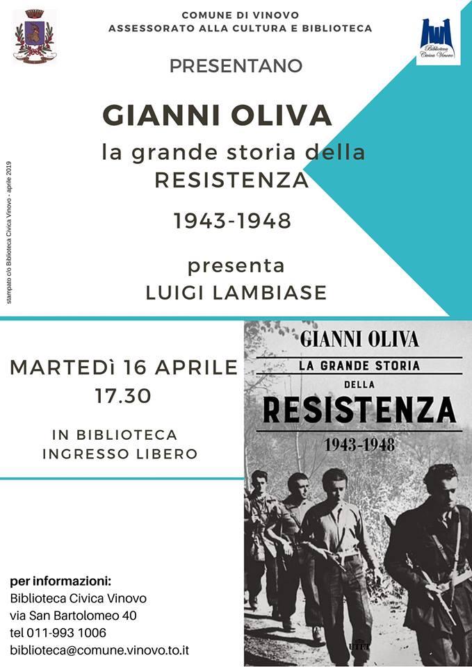 VINOVO – Gianni Oliva e il suo libro in biblioteca
