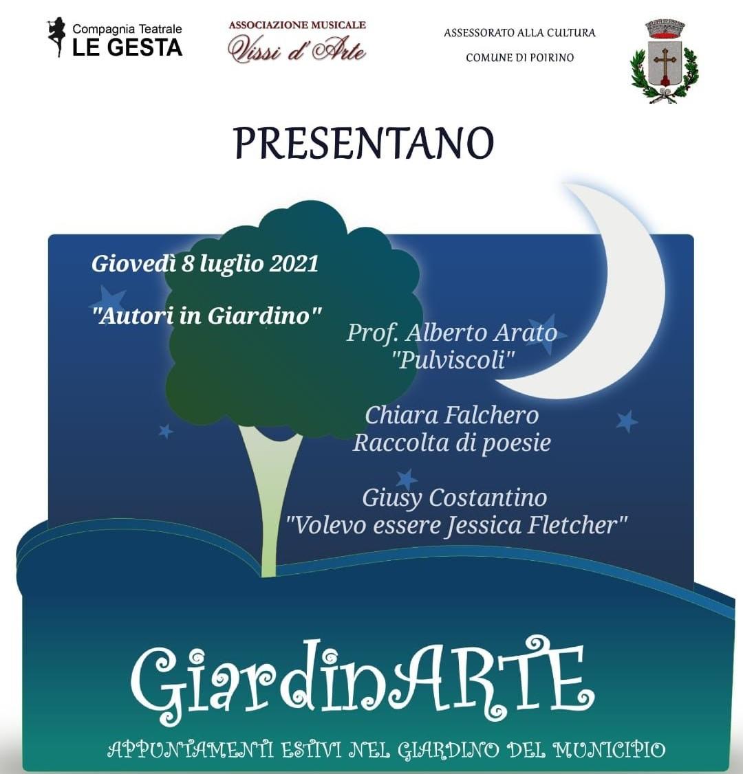 """A Poirino serata con gli autori: Arato, Falchero e Costantino ospiti l'8 luglio a """"GiardinArte"""""""