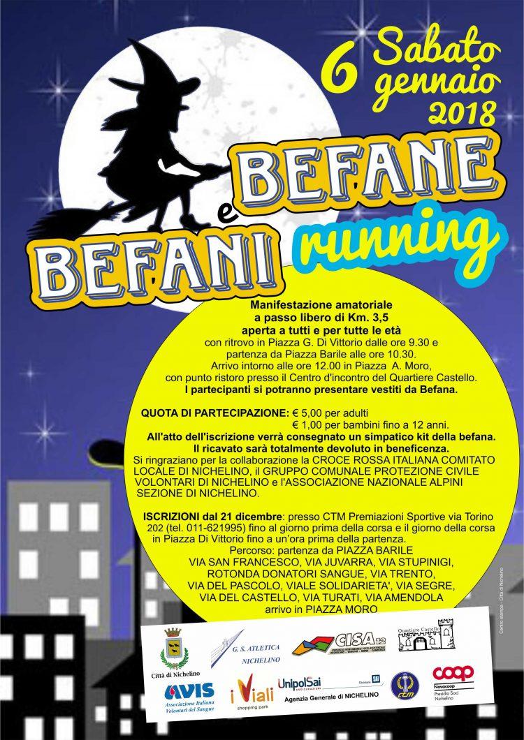 "NICHELINO – All'Epifania si corre con ""Befana e Befani running"""