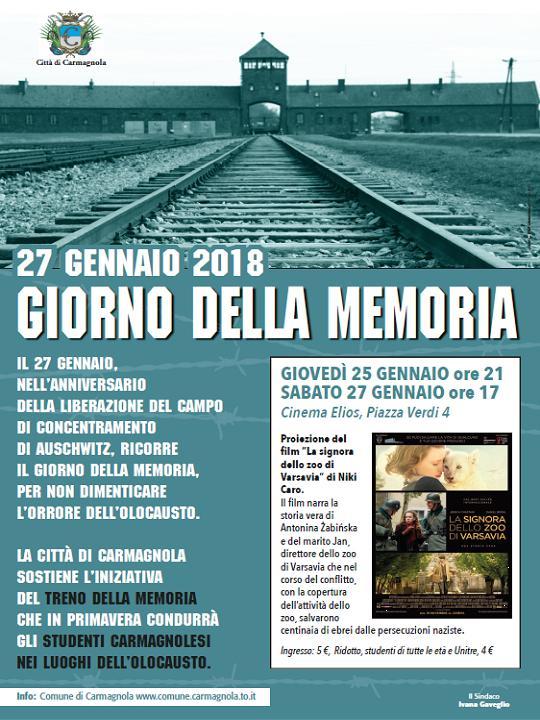 Le iniziative a Carmagnola per la giornata della Memoria