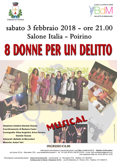 """Poirino in scena il musical """"8 donne per un delitto"""""""