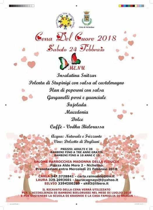 NICHELINO – Sabato 24 febbraio tradizionale cena del cuore della San Matteo onlus