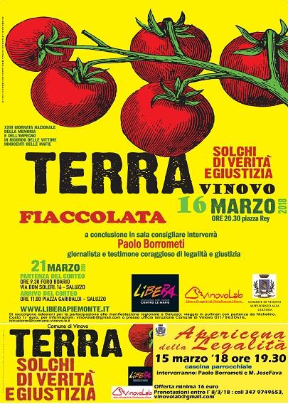 Iniziative a Vinovo per la giornata in ricordo delle vittime di mafia