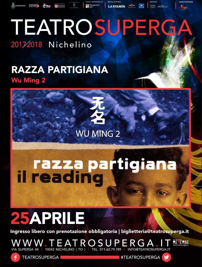 """NICHELINO – """"Razza Partigiana"""" con Wu Ming al teatro Superga"""