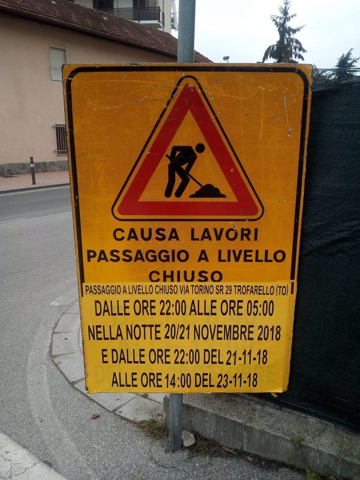 TROFARELLO – Lavori al passaggio a livello di via Torino