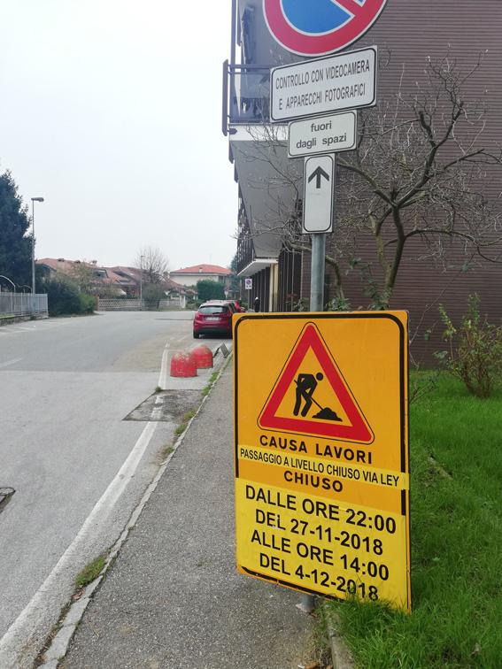 Trofarello: dopo il passaggio a livello di via Torino, chiude per lavori quello di via Ley
