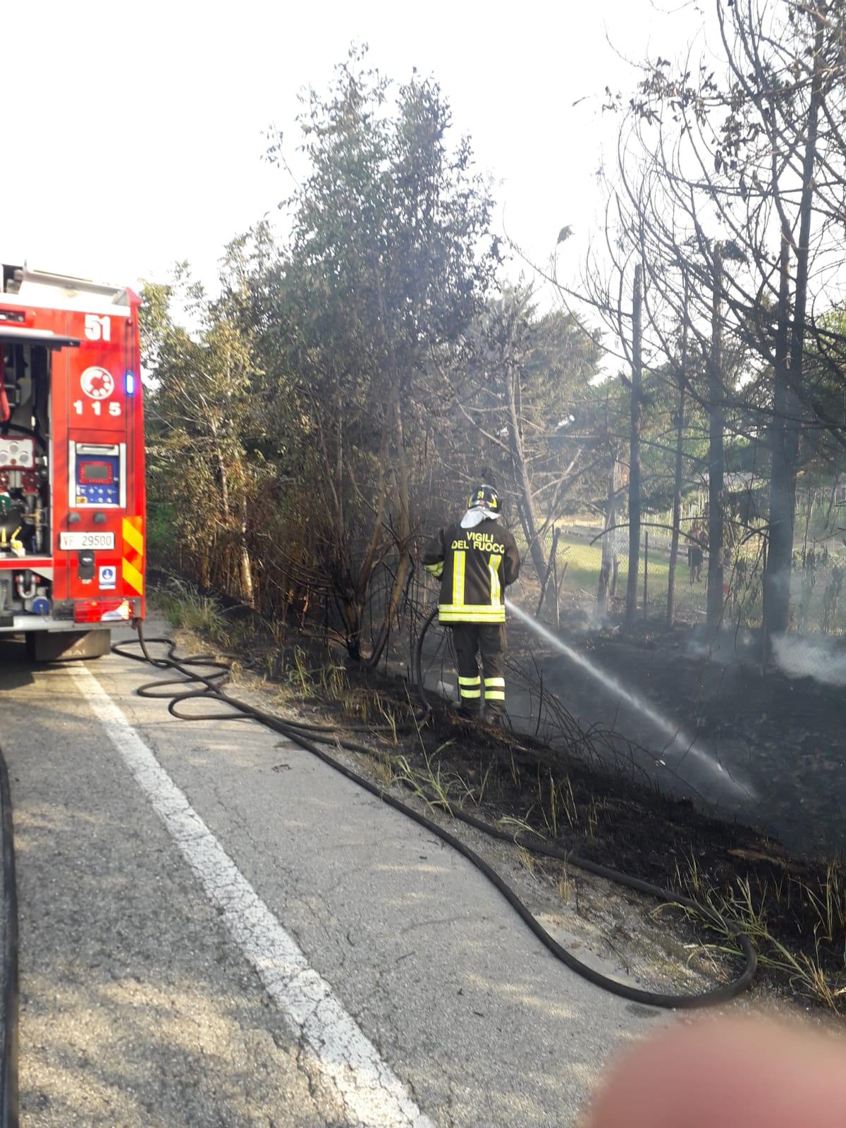 LA LOGGIA – Incendio in via Piave: il caldo alimenta i pericoli