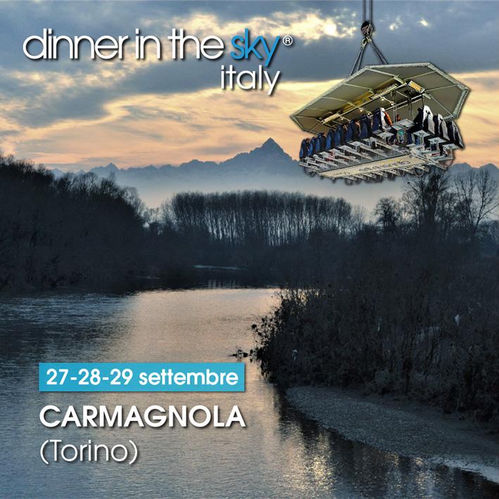 "A San Michele di Carmagnola si cena sospesi nel cielo con ""Dinner in the Sky"""