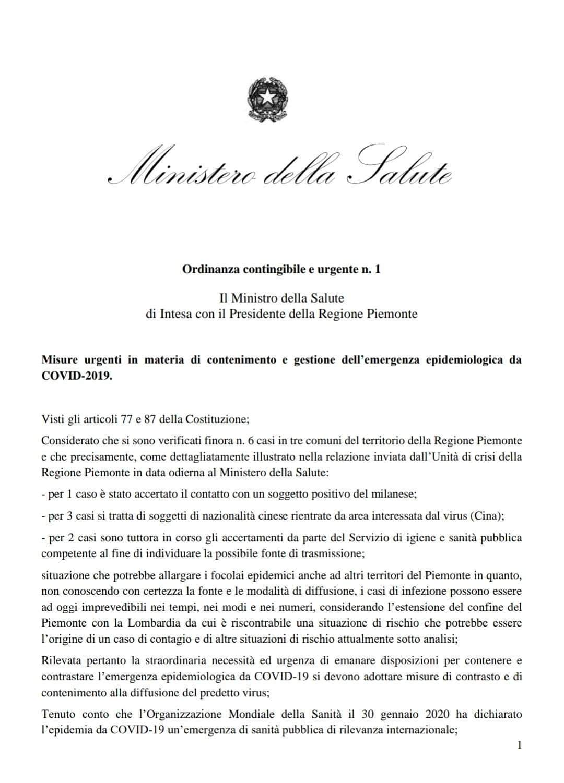 Corona virus, Piemonte: scuole chiuse nelle città, manifestazioni sospese