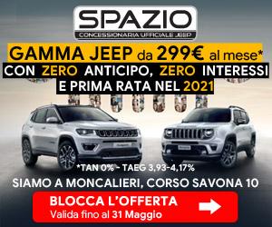 Gamma Jeep con zero anticipo, zero interessi e prima rata nel 2021. Solo da Spazio